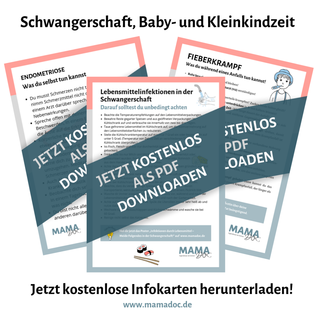 Infokarten Endometriose, Fieberkrampf, Lebensmittelinfektionen gratis downloaden auf Mamadoc.de