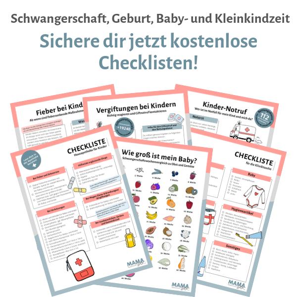 Schwangerschaft, Geburt, Baby- und Kleinkindzeit: Kostenlose Checklisten auf mamadoc.de